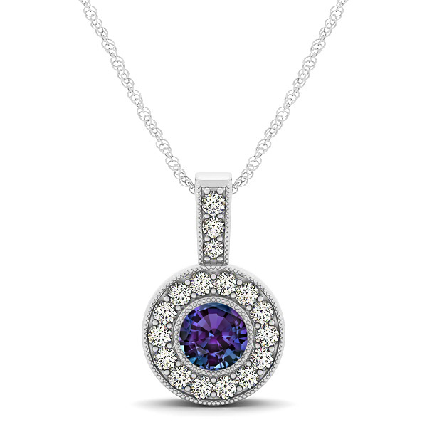 Purple AAA Round Alexandrite Vintage Halo Drop Necklace