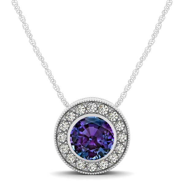 Halo Alexandrite Necklace with Round Pendant