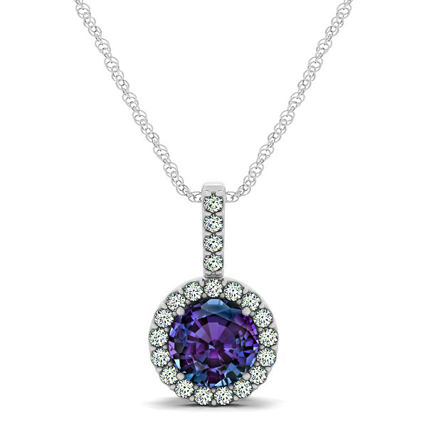 Gorgeous Round Alexandrite Halo Necklace