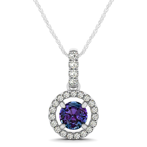 Extraordinary Floating Round Alexandrite Halo Drop Necklace