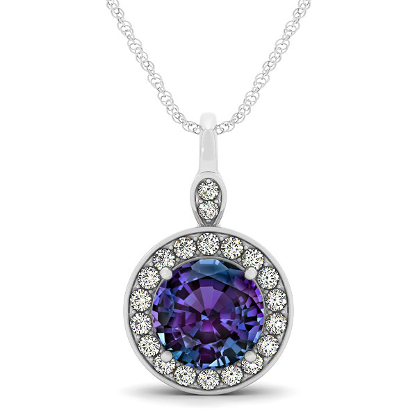 Halo Drop Round Cut Alexandrite Necklace