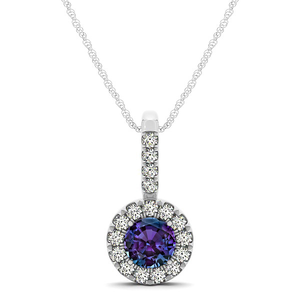 Round Cut Alexandrite Halo Pendant & Necklace