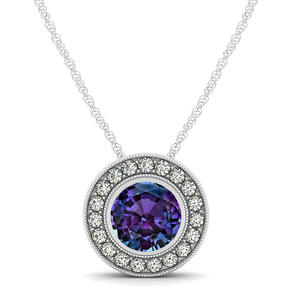 Classy Halo Necklace with Round Cut Alexandrite Pendant