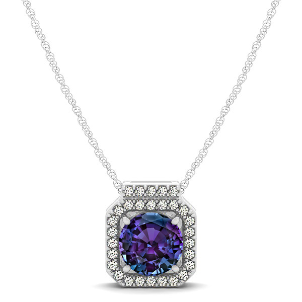 Square halo necklace with round cut alexandrite pendant aloadofball Choice Image