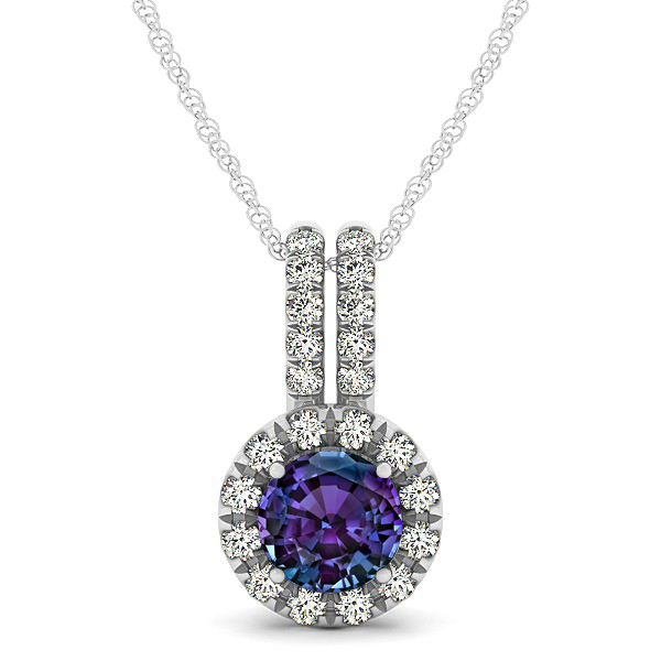 Luxury Halo Drop Necklace with Round Cut Alexandrite Gemstone