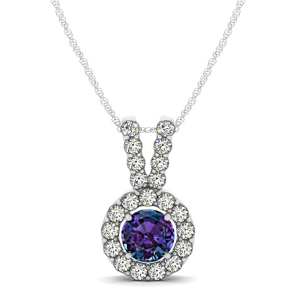 Classique V Neck Halo Necklace with Round Cut Alexandrite
