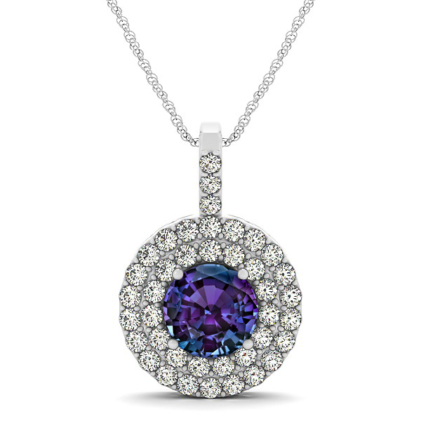 Designer Circle Double Halo Alexandrite Necklace