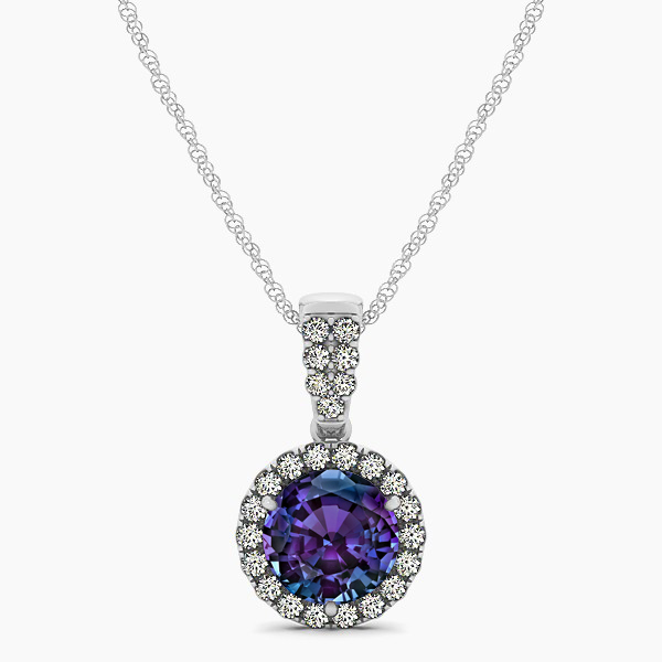 Gorgeous Drop Halo Necklace Round Cut Alexandrite VS1