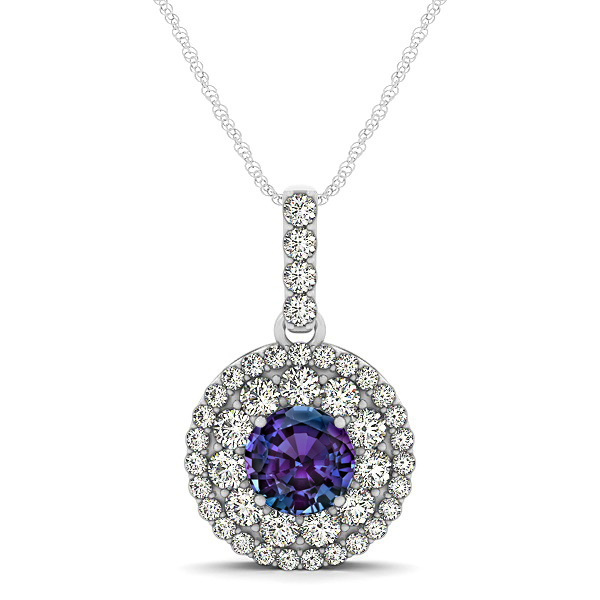 Round Alexandrite Necklace with Twin Halo Pendant