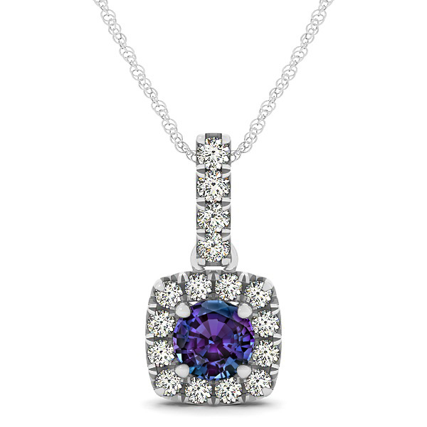 Peculiar Halo Side Stone Round Alexandrite Drop Necklace