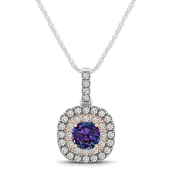 Cushion Shaped Halo Necklace with Round Alexandrite Pendant