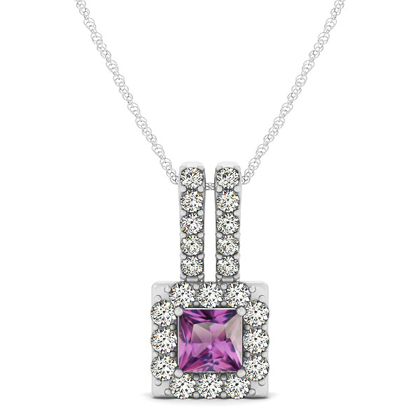 Contemporary Square Halo Necklace Princess Cut Alexandrite