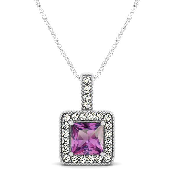 Square Alexandrite Halo Necklace in Gold or Sterling Silver