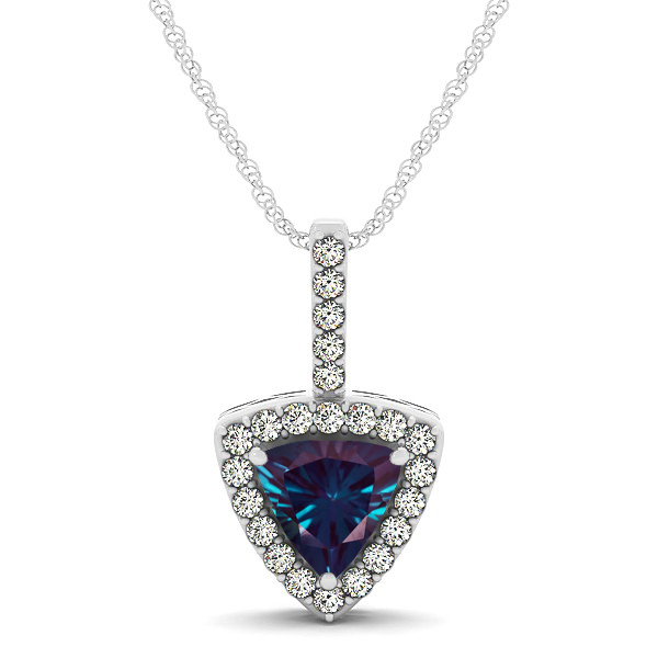 Beautiful Trillion Cut Alexandrite Halo Necklace