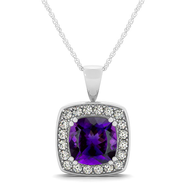 Attractive Deep Purple Cushion Amethyst Halo Necklace