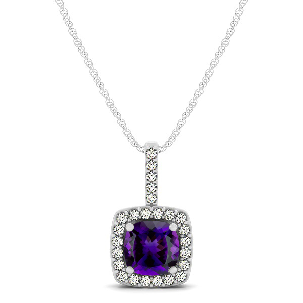 Cushion Amethyst Square Halo Necklace