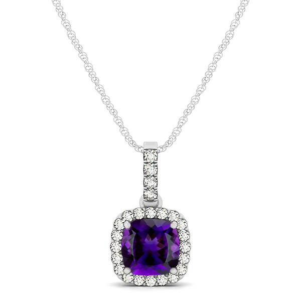 Elegant Cushion Amethyst Halo Pendant Necklace