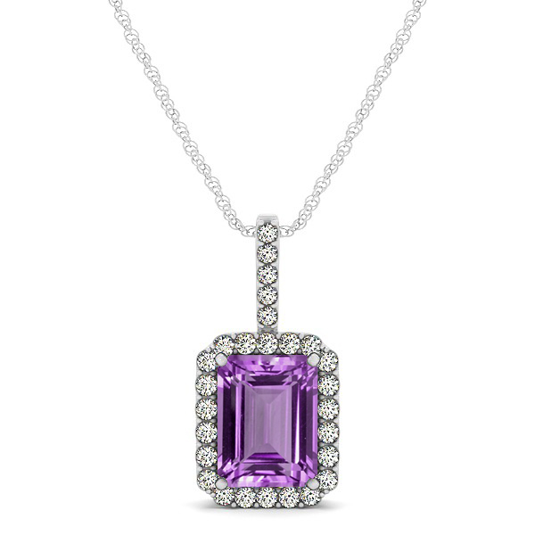 Halo Emerald Cut Amethyst Necklace Classic Design