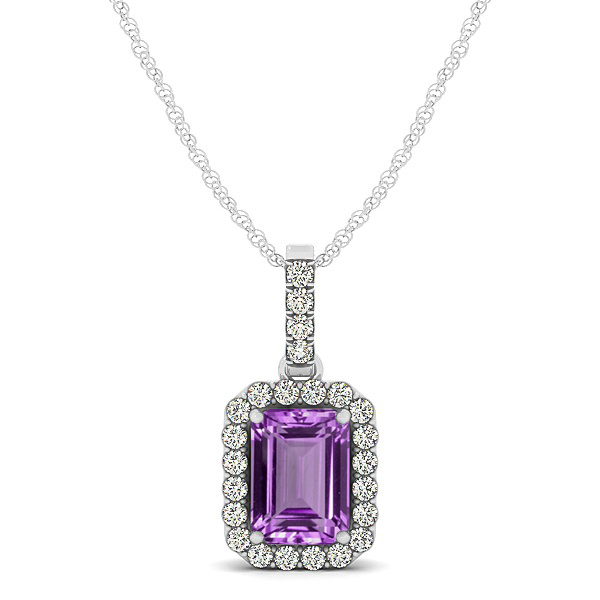 Classic Emerald Cut Amethyst Necklace with Halo Pendant