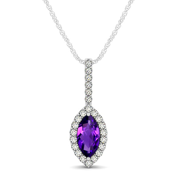 Fashionable Halo Marquise Cut Amethyst Necklace