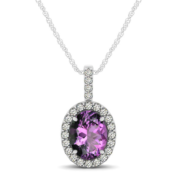 Classic Drop Halo Necklace with Oval AAA Amethyst Pendant