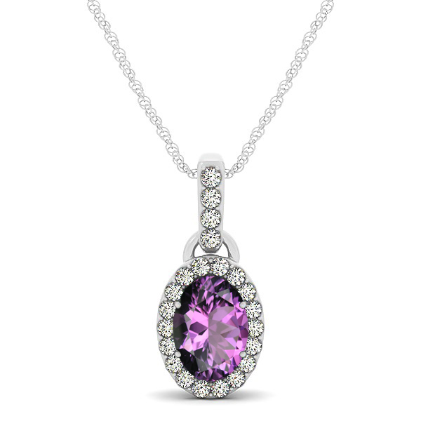 Lovely Halo Oval Amethyst Necklace in Gold, Silver or Platinum