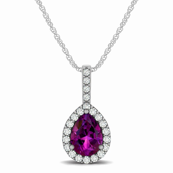 Exclusive Pear Halo Amethyst Pendant Necklace
