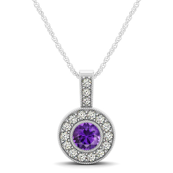 Deep Purple AAA Round Amethyst Vintage Halo Drop Necklace