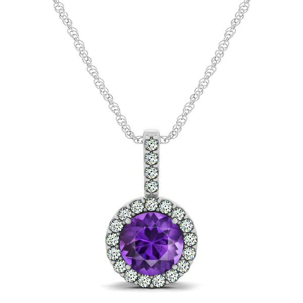 Gorgeous Round Amethyst Halo Necklace