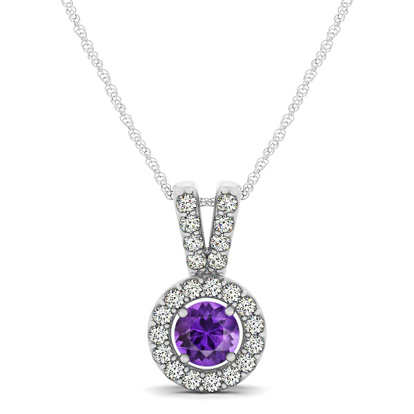Avant-Garde Round Halo Amethyst Necklace