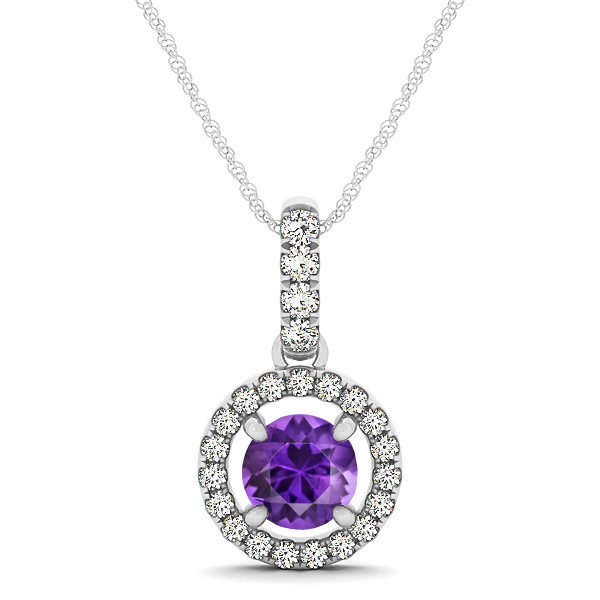 Extraordinary Floating Round Amethyst Halo Drop Necklace