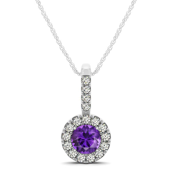 Round Cut Amethyst Halo Pendant & Necklace