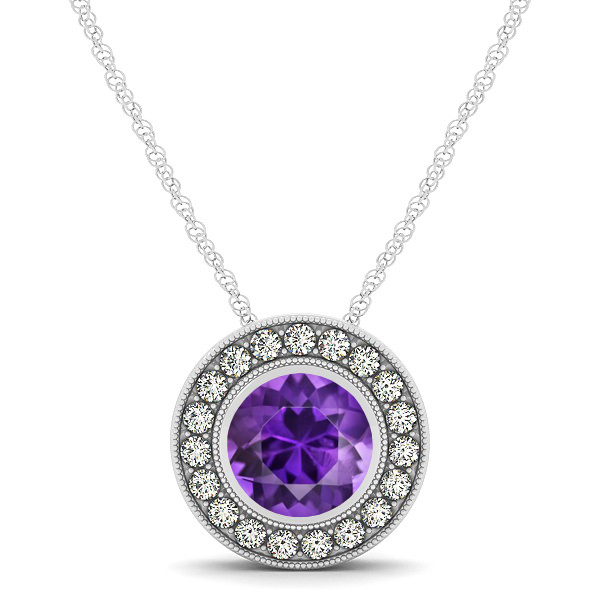 Classy Halo Necklace with Round Cut Amethyst Pendant
