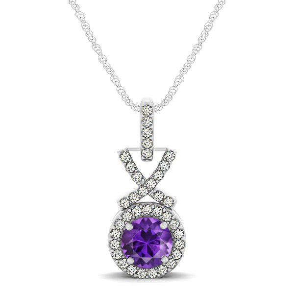 Modern XO Round Amethyst Pendant Necklace