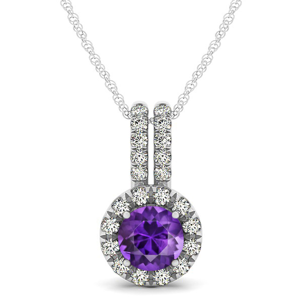 Luxury Halo Drop Necklace with Round Cut Amethyst Gemstone