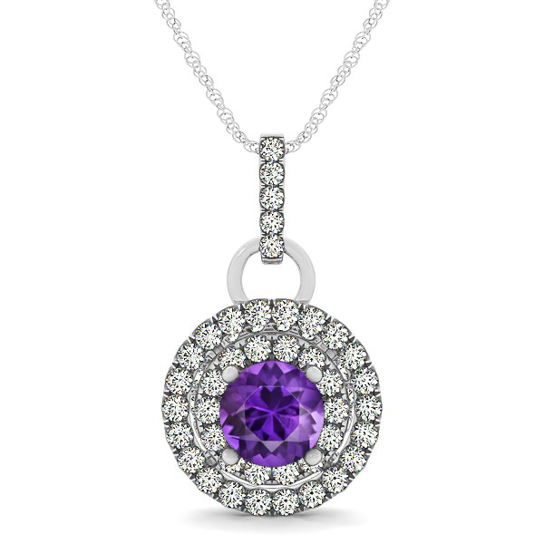 Royal Dual Halo Amethyst Necklace with Circle Pendant