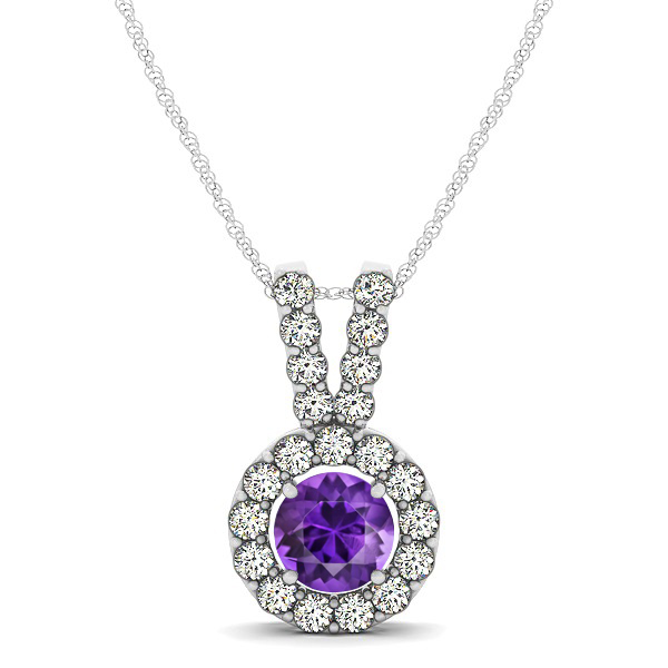 Classique V Neck Halo Necklace with Round Cut Amethyst