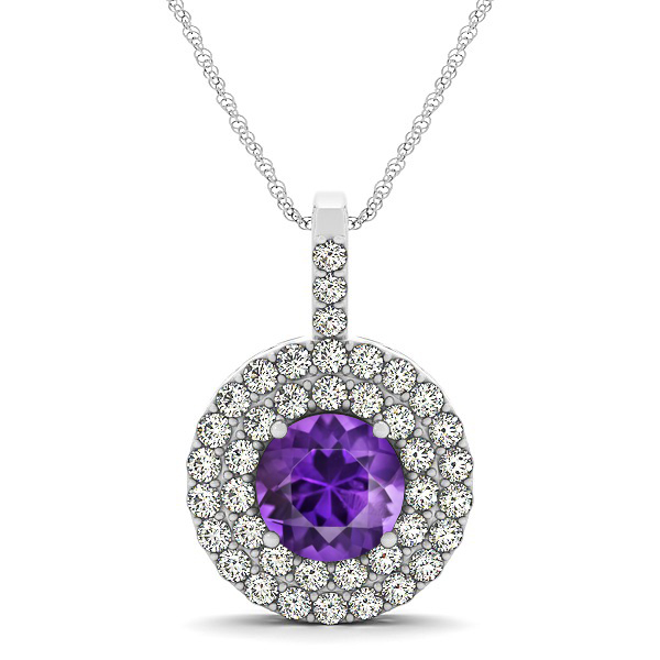 Designer Circle Double Halo Amethyst Necklace