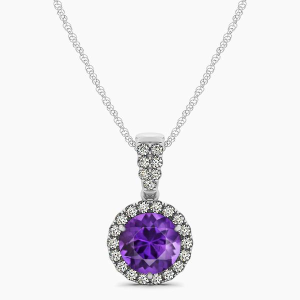 Gorgeous Drop Halo Necklace Round Cut Amethyst VS1
