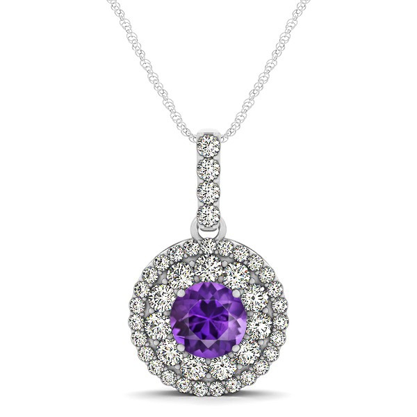 Round Amethyst Necklace with Twin Halo Pendant