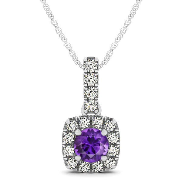 Peculiar Halo Side Stone Round Amethyst Drop Necklace