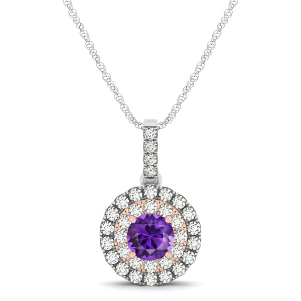 Dual Halo Round Amethyst Pendant Necklace