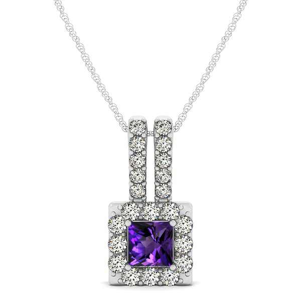 Contemporary Square Halo Necklace Princess Cut Amethyst