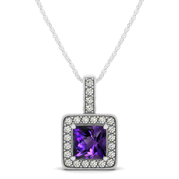 Square Amethyst Halo Necklace in Gold or Sterling Silver