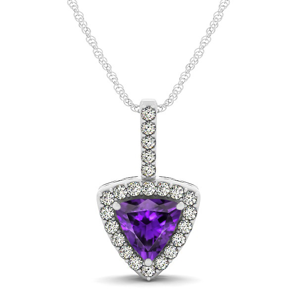 Beautiful Trillion Cut Amethyst Halo Necklace