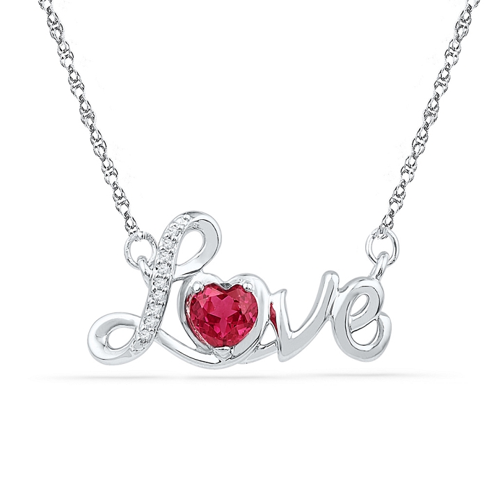 Love 0.04 CT Diamond 0.50 Ct Ruby Necklace 925 Sterling silver