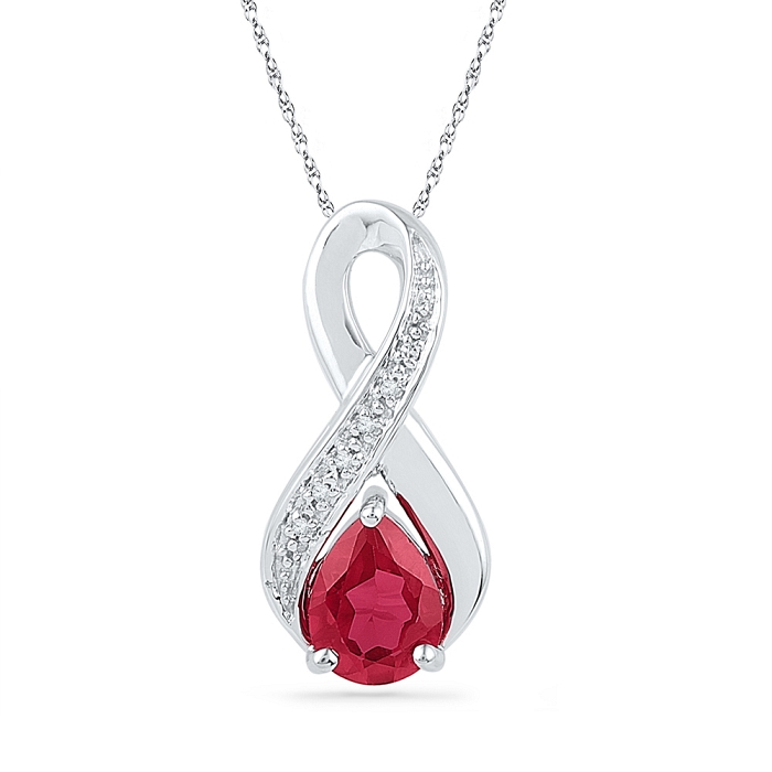0.02 CT Diamond 1.70 Ct Ruby Pendant Necklace