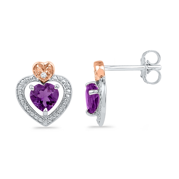 0.01 CT Diamond 0.84 Ct Amethyst Earrings 925 Sterling silver