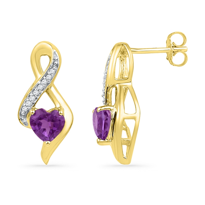 0.051 CT Diamond 0.80 Ct Amethyst Earring Yellow gold