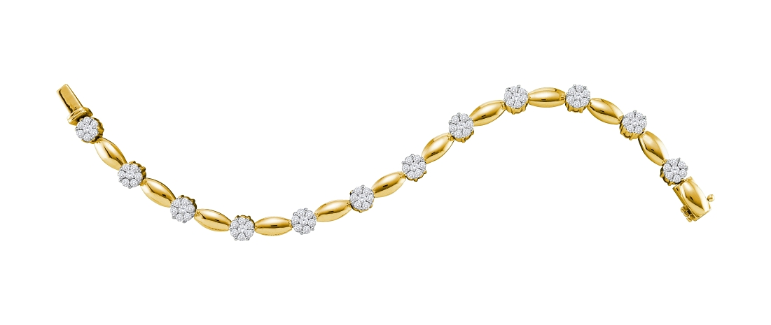 3.00 CT Diamond Flower Bracelet 14K Yellow gold